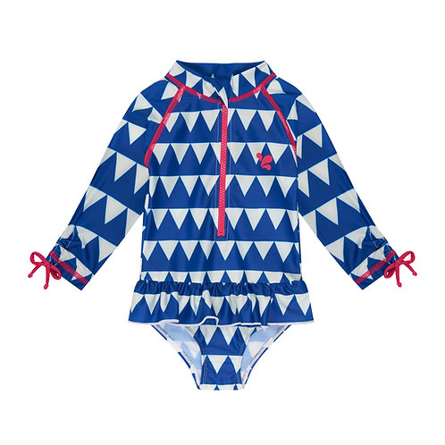 Sunsafe Surf Swimsuit │ Blue Triangles