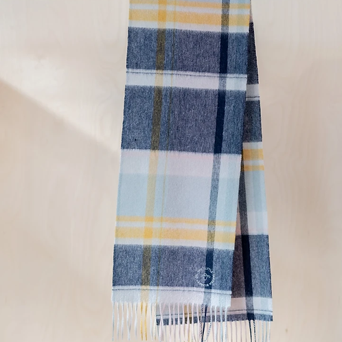 Lambswool Kids Scarf | Dusky Pink and Navy Multi Check