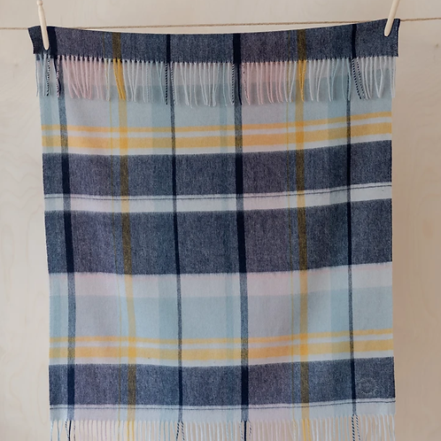 Lambswool Baby Blanket | Dusky Pink and Navy Multi Check