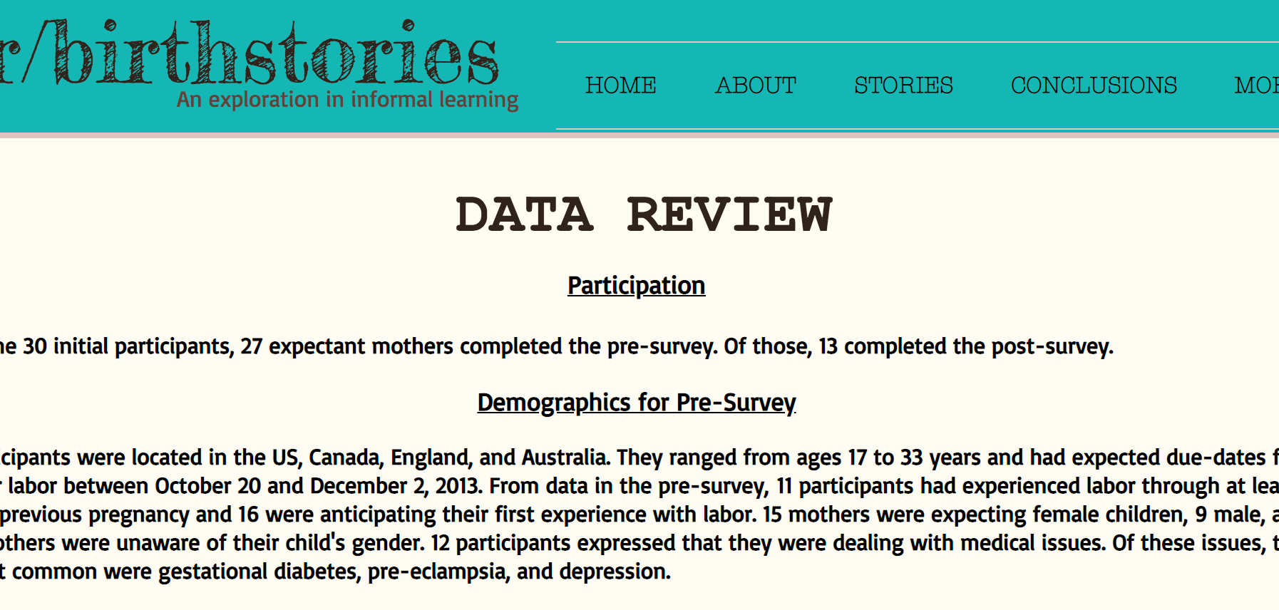 Designed as a research project, data was collected to observe the potential impacts reading original stories would have on expecting mothers