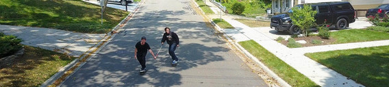dan mancina bombing a hill with friend