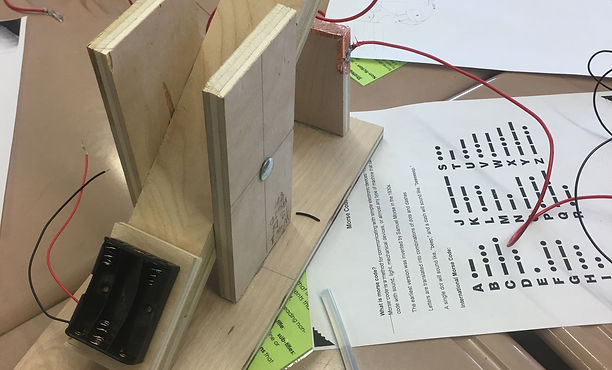 Using circuitry, students built a machine to send morse code messages