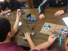 Students in grade seven constucting their circuits