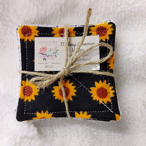 Black W/ Sunflowers Makeup Remover Wipes