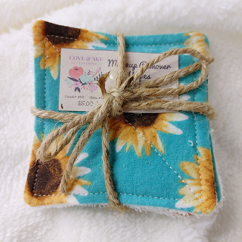Teal W/ Sunflowers Makeup Remover Wipes