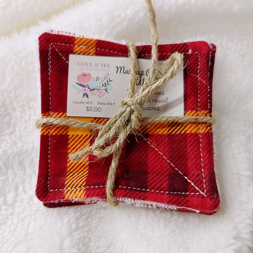 Red & Orange Plaid Makeup Remover Wipes
