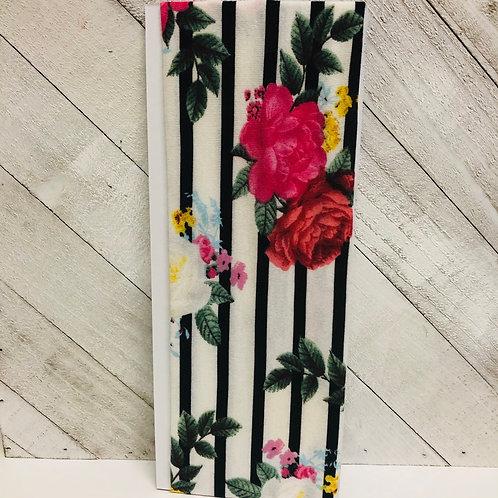 Black & White Stripes W/ Flowers