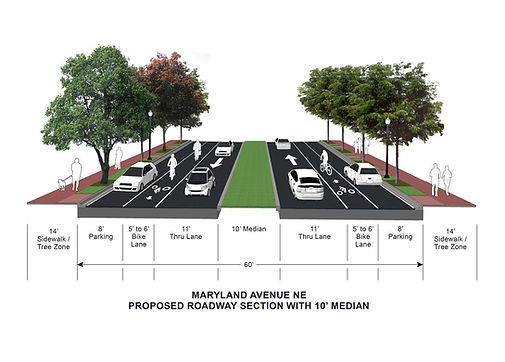Maryland Avenue NE Proposed Roadway Section with 10 foot median