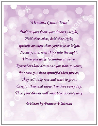 'Dreams Come True' A Poem witten by Frances Whitman