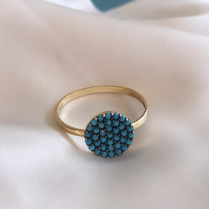 טבעת זהב עם עיגול משובץ טורקיזים