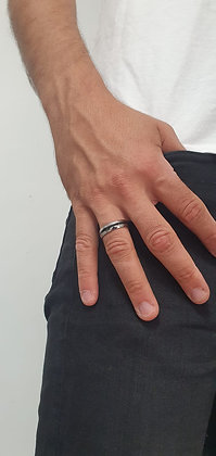 טבעת סטיינלס סטיילכסוף ושחור