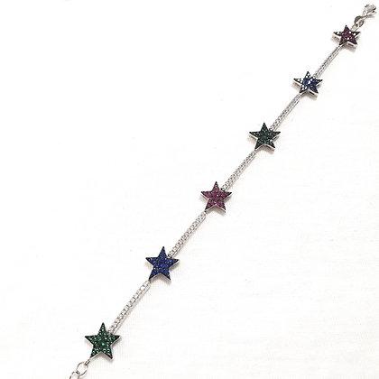 צמיד כסף עם כוכבים צבעונים