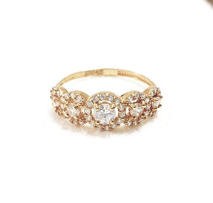 טבעת ציפוי זהב 5 סוליטרים