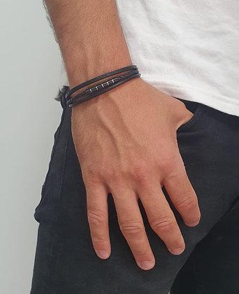 צמיד דמוי עור שלוש חלקים