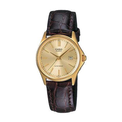 שעון קסיו מוזהב ורצועת עור