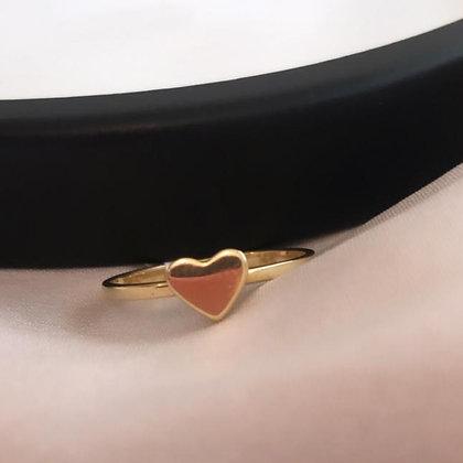טבעת לב זהב עדינה
