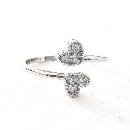 טבעת שתי לבבות כסף פתוחה