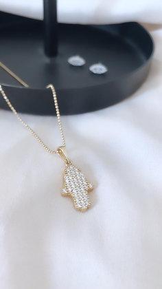 שרשרת חמסה זהב משובצת
