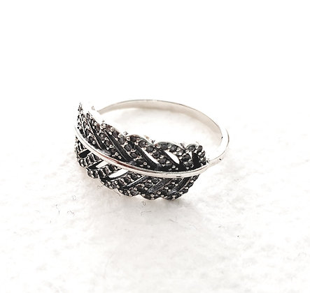 טבעת כסף נוצה