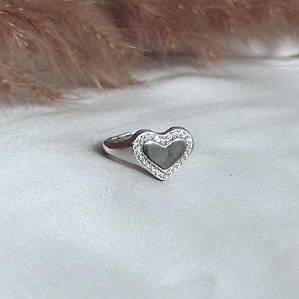 טבעת חותם כסף לב