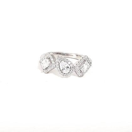טבעת כסף מלבן- טיפה- מלבן