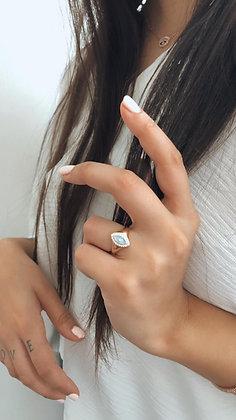 טבעת עין רוז אמייל תכלת