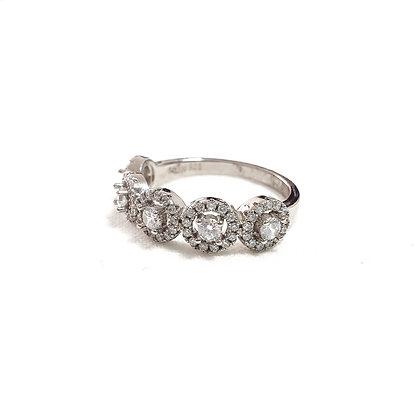 טבעת כסף חמש סוליטרים