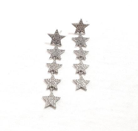 עגילי כוכבים ארוך משובץ