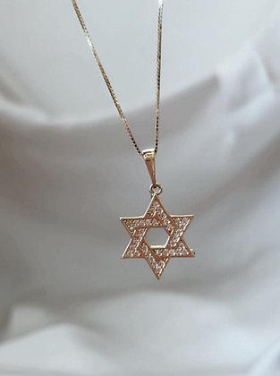 שרשרת מגן דוד זהב משובץ