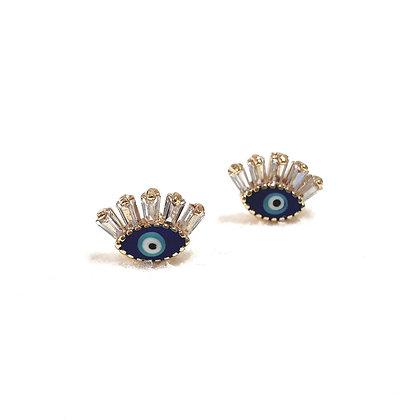 עגילי עין בשילוב אמייל כחול ציפוי זהב