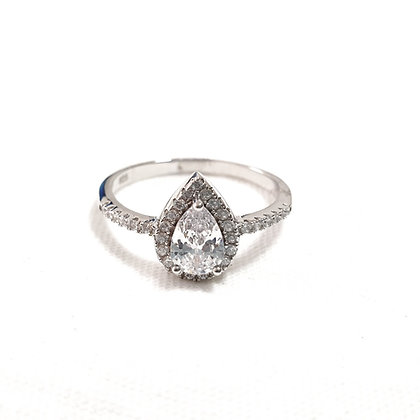טבעת כסף טיפה משובצת