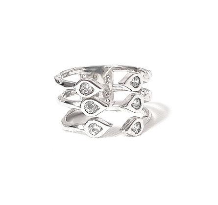 טבעת שלוש טיפות פתוחה כסף