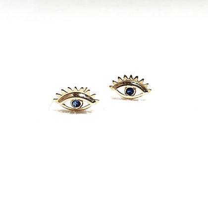 עין זהב עם ריסים ואבן כחולה מרכזית
