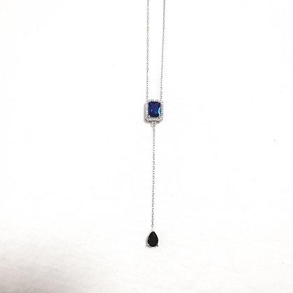 שרשרת עניבה עם אבן כחולה מרכזית
