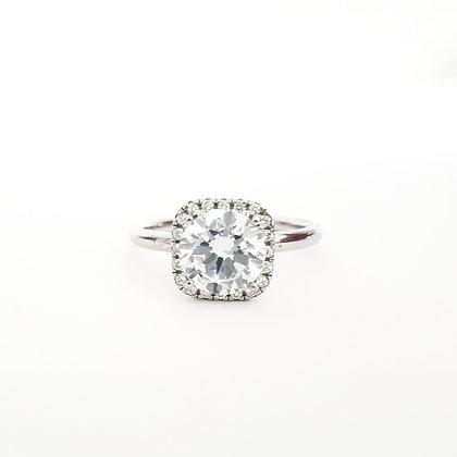 טבעת סוליטר כסף מרובע גבוהה