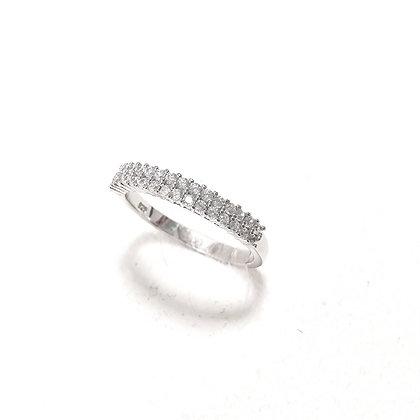 טבעת כסף שתי שורות שיבוץ