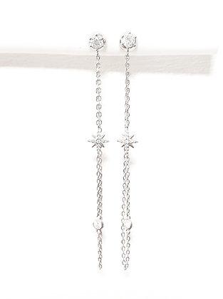 עגילי כסף ארוך עם שרשרת וכוכב במרכז
