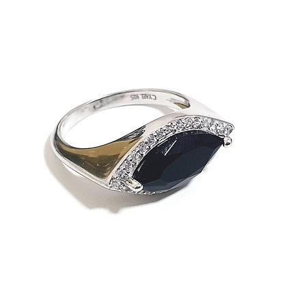 טבעת כסף מרקיזה שחורה