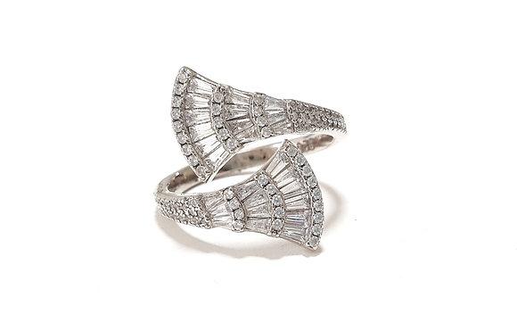 טבעת כסף מניפות