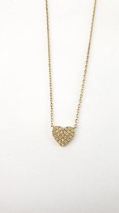 שרשרת צמודה לב ציפוי זהב קטן משובץ