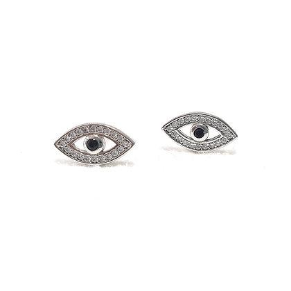 עגילי עין עם אבן שחורה במרכז