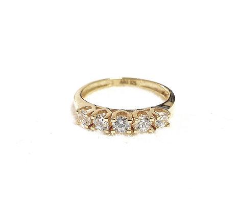 טבעת ציפוי זהב 5 אבנים