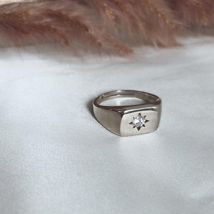 טבעת חותם כסף  עם כוכב במרכז