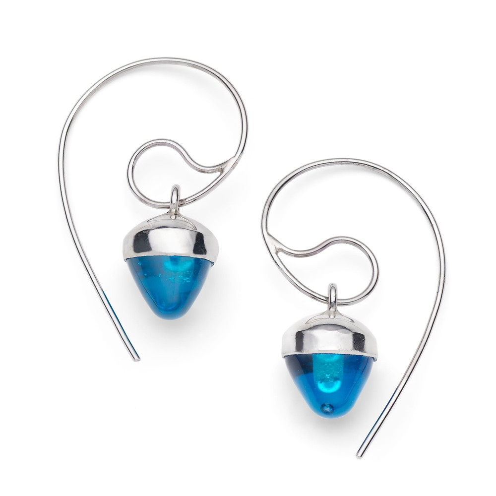 Handmade Silver and Glass Colourful Earrings