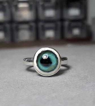 Green Glass Eye Ring