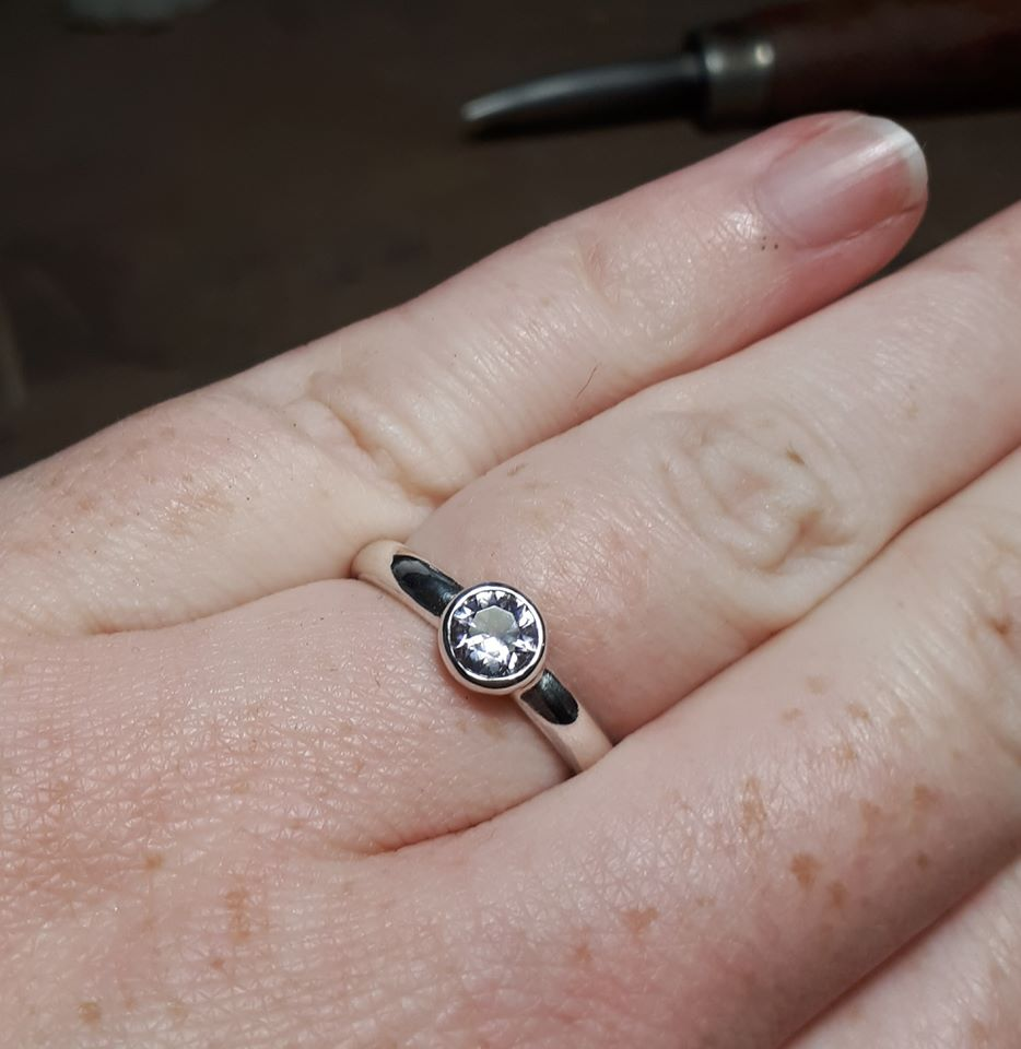 Silver Spinel Engagement ring