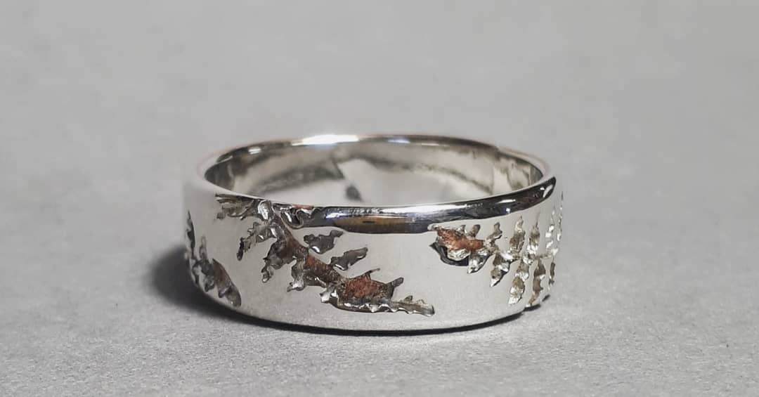 Silver and Copper Fern Ring
