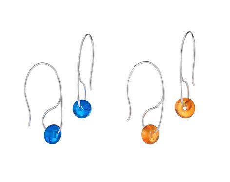 Bead Drop Earrings - Feather Wire