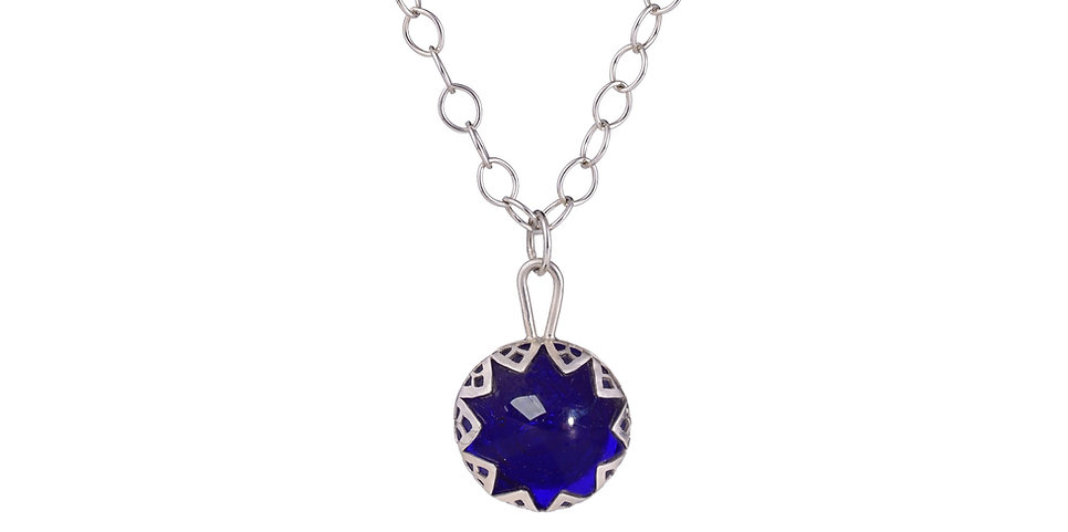 Handmade Silver and Cobalt Blue Necklace