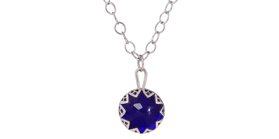 Handmade Silver and Cobalt Blue Necklace